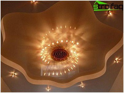 Variant of chic lighting for the ceiling in the living room