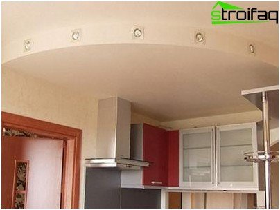 The design of the plasterboard ceiling in the kitchen