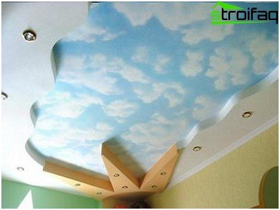 Decor on the ceiling of drywall in the children's room