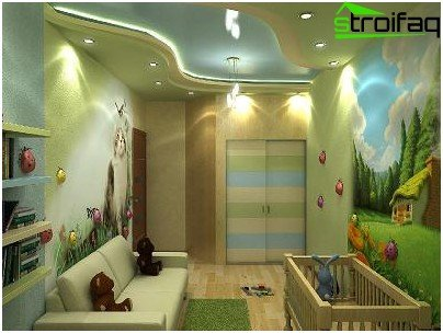 The combination of stretch ceiling and plasterboard ceiling