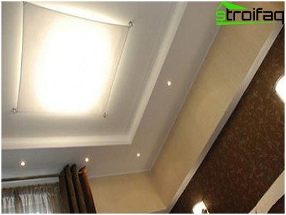 Layered plasterboard ceiling