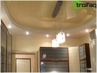 The combination of drywall construction and stretch ceiling