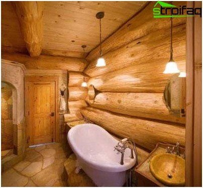 bathroom in a wooden house