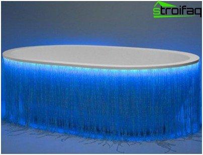 حمام بإضاءة خلفية