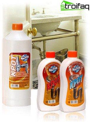 Producto químico de limpieza de tuberías