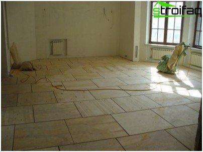 Preparación de la base para la colocación de azulejos.