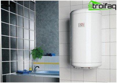 Opbevaringsvarmeren monteres på væggen