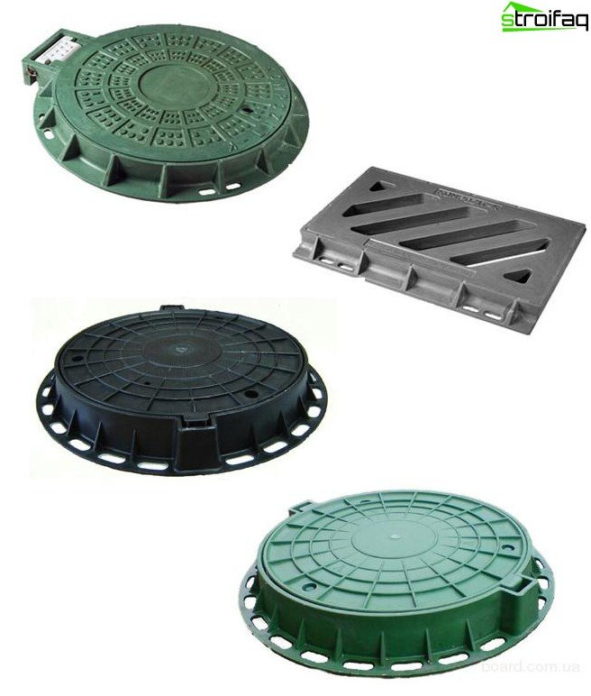 Plastic and cast iron manhole covers