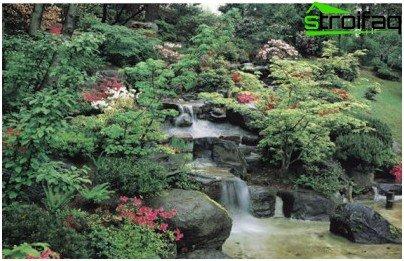 água no jardim oriental