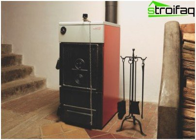 Solid fuel heating boiler in the interior