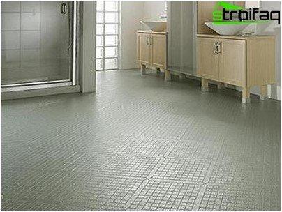 Vinyl tile in the bathroom