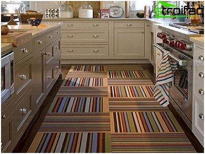 Vinyl tile in the kitchen