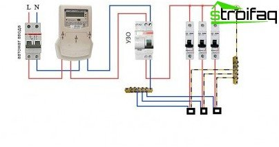 Connection diagram for residual current device