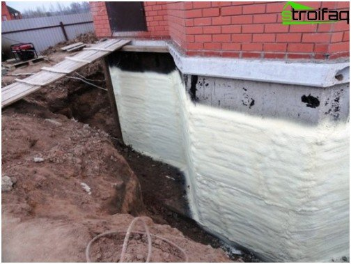 Polyurethane foam on the foundation
