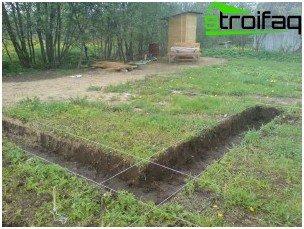 Lægning af skyttegrave under fundamentet