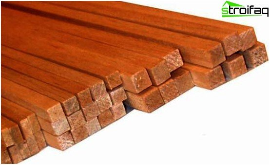 The size of the wooden bars for the cabinet 60 to 40 mm