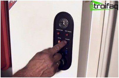 Turning on the electric boiler