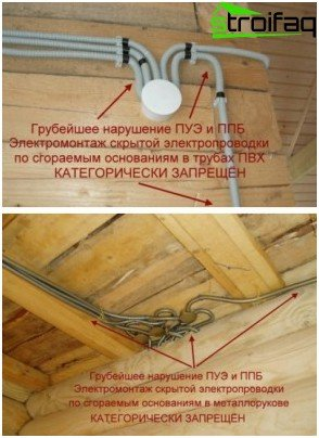 Examples of improper wiring in the bath