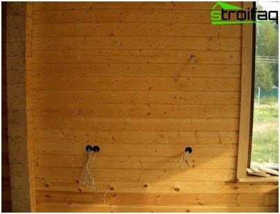 Hidden wiring in a wooden house