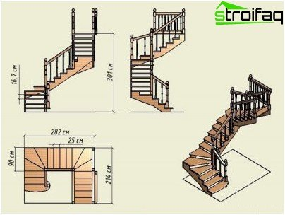 The design of the stairs with running steps