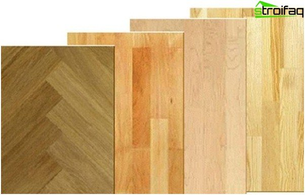 Material for laying floor with various number of slats
