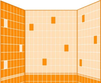 Inverse styling allows you to split the zones in the bathroom using different tile colors