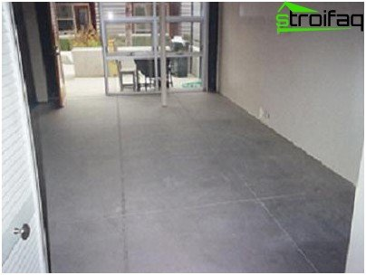 Ready concrete floor in a wooden house