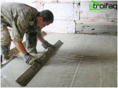 Nivellierung des Betonbodens