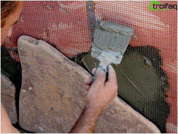 sótano de piedra - materiales de fijación