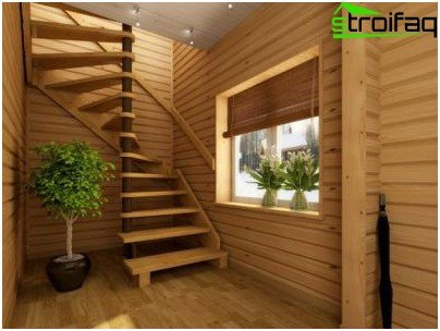 Hybrid wooden staircases for a summer residence
