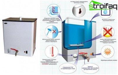 Práctico calentador de agua de almacenamiento para casa de verano