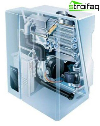 The internal device of the condensing boiler
