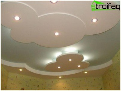 Plasterboard ceiling with lighting in hidden niches