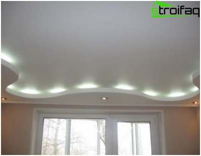 One-level plasterboard ceiling for a bedroom