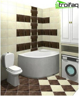 Horizontal tile laying in the bathroom