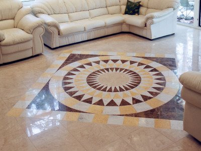 Porcelain stoneware floors with ornament