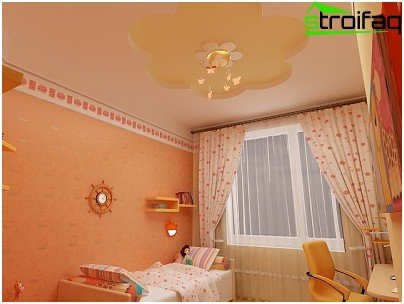 Variant of favorable colors for the stretch ceiling in the nursery