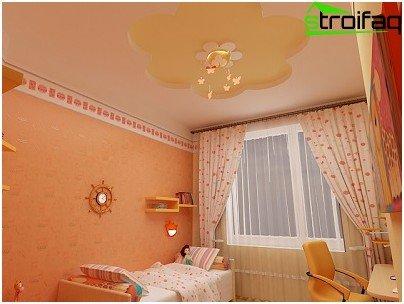 Variant van gunstige kleuren voor het spanplafond in de kinderkamer