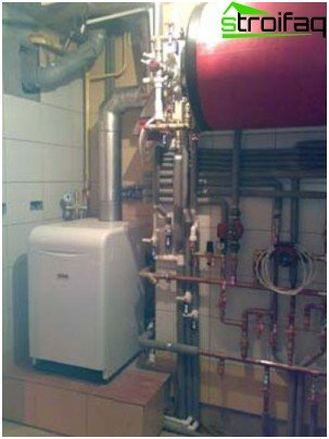 Heating system: gas boiler and boiler