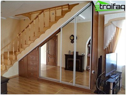 Sliding wardrobe under the stairs