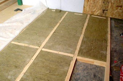 Laying insulation on the floor of the loggia
