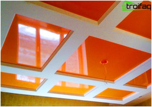 Il design dei soffitti tesi in cucina è vario