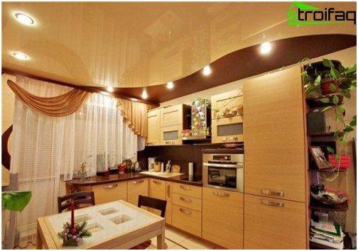 Soffitti tesi in cucina: foto №3