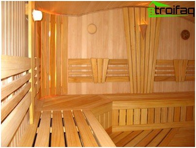 An interesting style solution for finishing a steam room