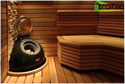 Wooden lining in the steam room