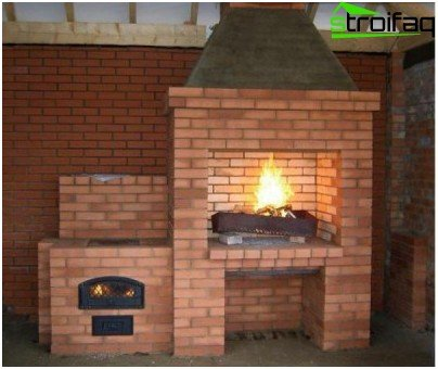 Brick fireplace stove for a summer residence