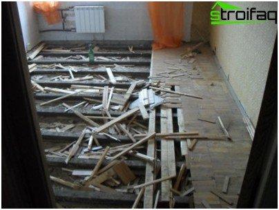 Overhaul of a wooden floor