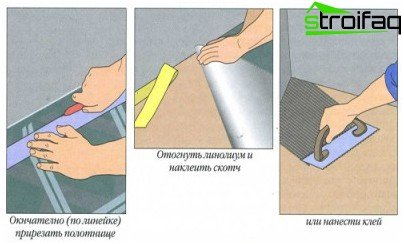 Stufen der Verlegung von Linoleum