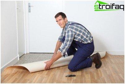 Linoleum flooring without glue
