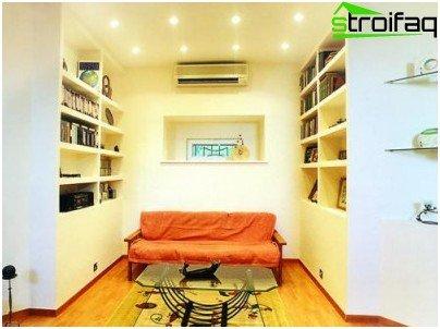 Drywall shelves in the living room